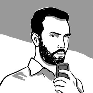 Dibujo de Pernan Goñi a partir de selfie.